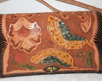 Vintage Handbag Purse Tooled Leather with Painted Butterfly and Flowers