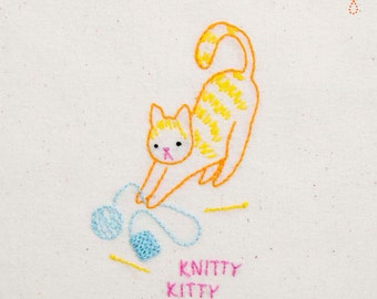Knitty Kitty INSTANT DOWNLOAD PDF embroidery pattern