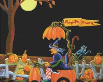 """Halloween Cross Stitch Pattern """"Pumpkin Power"""""""