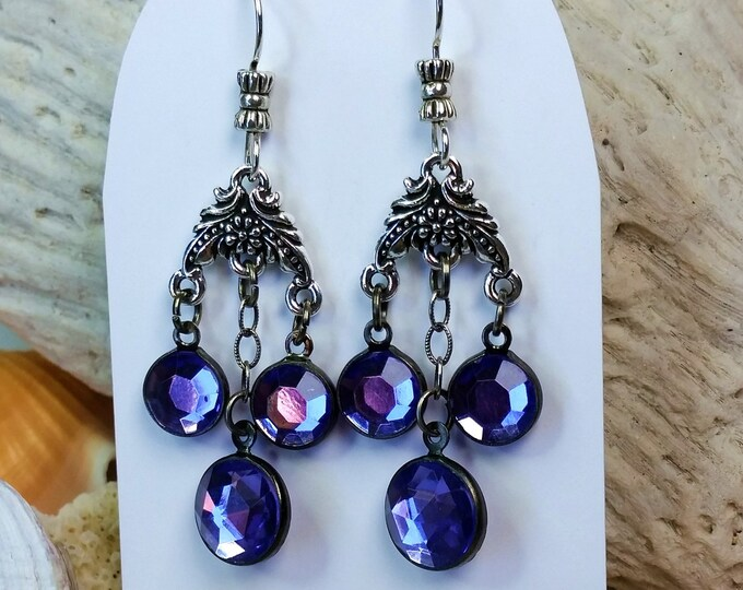 Chandelier Earrings -  Purple Crystal Earrings - Purple Crystal Drop Earrings - Purple Earrings - Valentine Gift