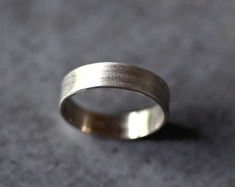 Men's Gold Eco Wedding Ring , 5mm Wide Brushed Flat 14k Recycled Palladium White Gold Man Gold Wedding Band -  Made in Your Size