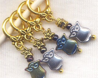 Owl Knitting Stitch Markers PhatFiber Hematite Set of 4 /SM47C
