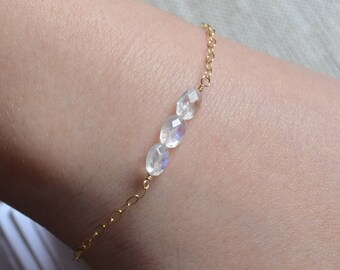 Dainty Rainbow Moonstone Bracelet, Gold Filled Cable Chain, Real Gemstone Row, Winter Wedding, Adjustable Length, Jewelry for Teens