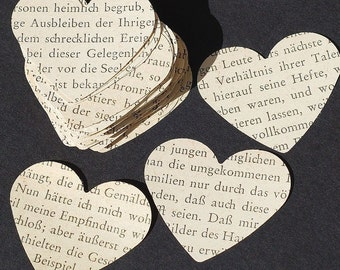 German paper hearts- 100 German hearts, wedding table confetti, party decorations, recycled paper hearts, foreign language hearts