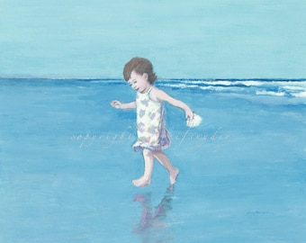 Beach print little girl running on the beach, young child, seashore, ocean, seashell, shore, toddler, seaside art, children, blue, paintings