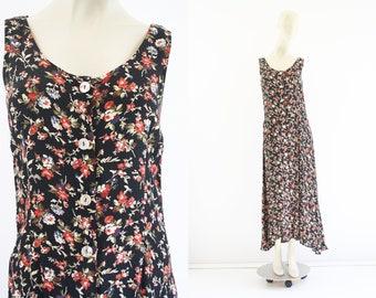Vintage 90's Karen Kane Lifestyle Rayon Black Floral Print Button Front Tank Style Woman's Retro Maxi Dress