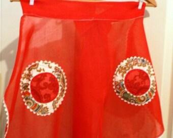 vintage apron ... RED Sheer RICRAC VINTAGE  Apron  ...