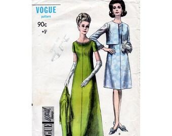 1960s Evening Dress Pattern Vogue Special Design 6944 Vintage Sewing Pattern Evening or Knee Length Dress Bust 34 Dress Only