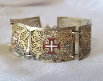 Gold Plated Silver Portuguese Filigree Red Enameled Bracelet