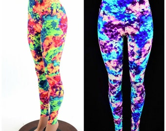 Acid Splash Neon UV Glow High Waist Lycra Spandex Leggings Rave Festival Yoga - 154088