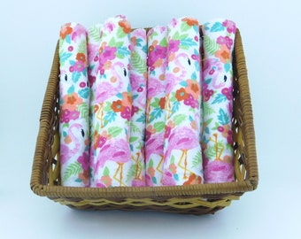 Flamingo Unpaper Towels, Reusable Wipes, Reusable Cloths, Eco Friendly Wipes, Eco Friendly Gifts, Zero Waste Wipes, Paperless Towels