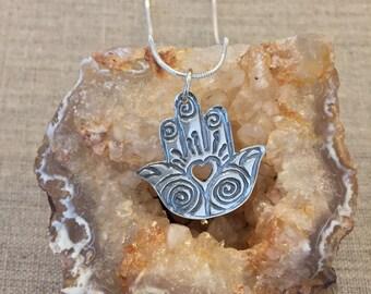 Hamsa Fine Silver Pendant