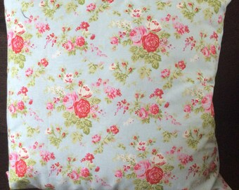 Blue and pink rose cushion cover