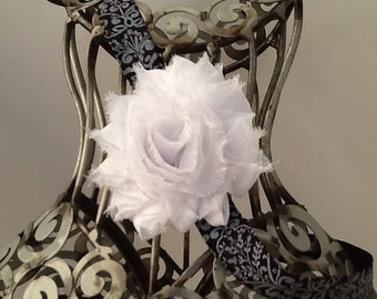 White and black headband, white shabby chic flower on a black and white damask band, girls headband, baby headband hair accessory.