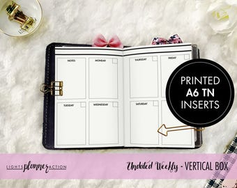 Undated Vertical WO2P Travelers Notebook | Vertical Weekly Planner Insert | No3/A6 TN Inserts