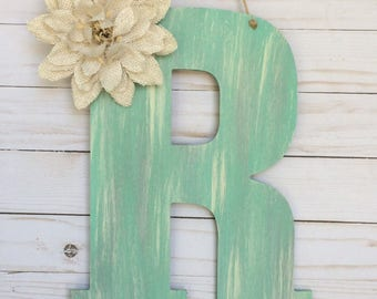 Spring Door Hanger - Initial Door Decor  - Monogram Door Hanger  - Door Decor - Wall Letter Decoration -  Room Decor - Personalized Gift