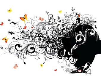 "Original Digital Zentangle Doodle Silhouette Drawing Art ""Butterflies freedom"" Pro Print Wall Art and Deco Fine Art Print"