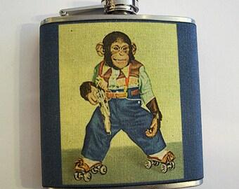 retro monkey flask vintage cartoon hip flask chimp 1950s animal kitsch