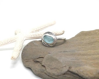 Sterling Sea Glass Ring, Size US 9 Sterling Ring, Lake Ring, Sterling Ring, Sea Glass Jewelry, Sea Glass Gift for Mom