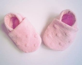Pink Baby Booties, Baby Girl Shoes, Pink Slippers, Fabric Baby Booties, Soft Sole Shoes, Kid's Footwear Booties, Baby Shower, Newborn Gift