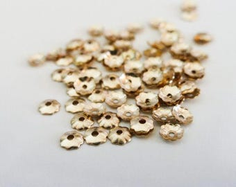 10 x 4mm Gold Filled Flower Bead Caps Rolled Gold Endbeads Findings, Craft Supplies, Jewellery Making UK Seller (MBX0087)