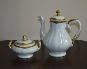 Franconia Krautheim Jewel Coffee Tea Pot and Sugar Bowl