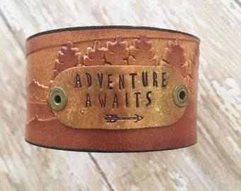 Adventure Awaits mountain scene leather cuff bracelet