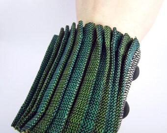 Green pleated handwoven cuff bracelet - OOAK
