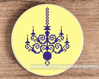Chandelier - PDF counted cross stitch pattern - Vintage - Silhouette