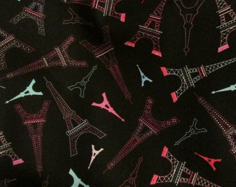 Paris On Black Fabric French Landmark Fabric Tour Eiffel Fabric Pink Eiffel Tower Fabric Paris France Fabric BTY By The Yard