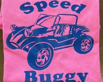 Speed Buggy , Youth T Shirt, Shown on pink with Blue design color