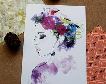 Illustrated postcard - Bohemian rustic profile
