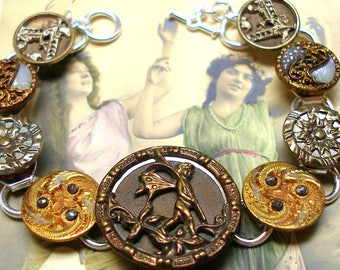 "Antique BUTTON gold bracelet, Victorian FAIRY with flowers on silver. 7.5"" jewellery."
