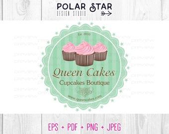 Retro Cupcake Label - Premade Logo Customized For Food, Cake, Cupcake Business - Striped - Vector Logo Design (007)