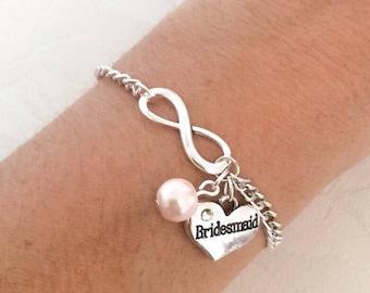 Bracelet, Infinity Bracelet, Personalised Bracelet, Bridesmaid Bracelet, Initial Bracelet, Charm Bracelet, Personalised Jewelry