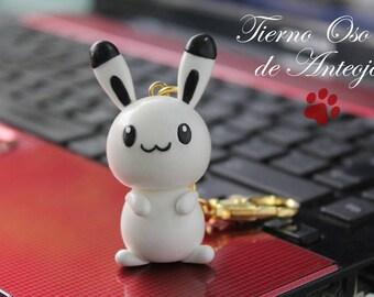 Tender White rabbit with black