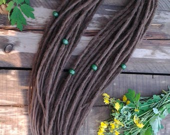 SYNTHETIC DREADS Brown full set double ended dreadlocks. Soft dreadlocks. Natural texture.