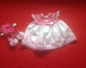 Baby Girl Bring Me Home Dress Set - Mauve & White