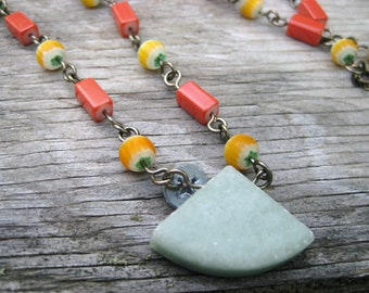 Geometric Necklace - Green Marble, Yellow, and Orange Beaded Necklace