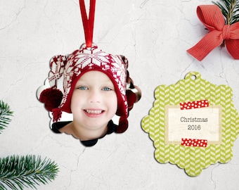 Personalized Christmas Ornament | Custom Photo Tree Ornament | Double Sided Ornament with Ribbon | PG-558
