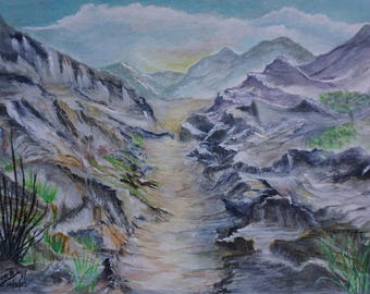 Desert Mountains, Water Color, Original, One of a kind, blue, purple, scene, peaceful, up the trail, wilderness, rocks, clifs, wild flowers