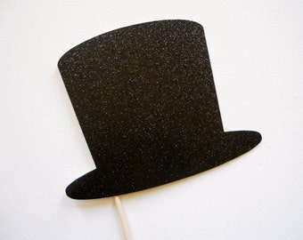 Glitter Top Hat Photo Booth Prop . Glitter Hat Photo Booth Prop . Photo Booth Props . Top Hat . Hat . Glitter . Single