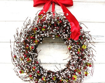 Valentines Wreath-Winter Wreath-Valentine's Day Door Decor-Rustic Home Decor-Wall Hanging-Gift for Mom-Scented Wreath-Custom Made Gifts