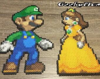 Super Mario - Luigi and Princess Daisy Perler Beads