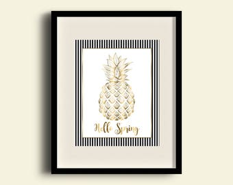 Hello Spring Gold and Stripe Pineapple wall art, Digital wall art