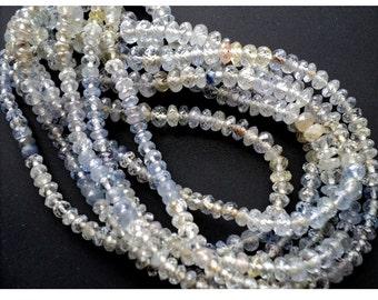 Ceylon Sapphire Beads/ Ceylon Blue Sapphire/ Faceted Rondelle Beads/ 3mm To 7mm Faceted Beads/ 85 Pieces Approx/ 10 Inch Half Strand
