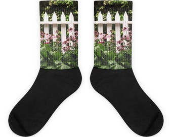 White Picket Fence Socks - Cute Flower Garden Design - Great Gift - Shabby Chic Design