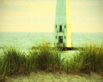 Scenic Wall art; Lighthouse; beach; Lake Michigan; instant download