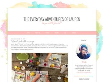 "Blogger Template, Blog Template - ""Lauren | by Kate"" Instant Digital Download"