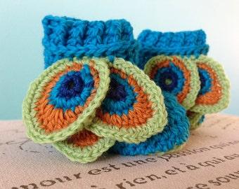 CROCHET PATTERN PDF - Peacock Booties - Crochet Baby Girl Booties - Instant Download